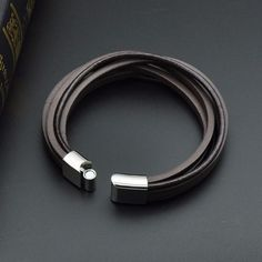 f0db5d1e72fa Genuine Leather Fashion Cuff Bracelet with Clasp Bangles