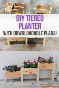 How to make a tiered planter box. Build a DIY tiered planter box in under 2 hours. Great beginner project for your yard, porch or patio. Plans and tutorial for this tiered planter box at Anika's DIY Life. #diyplanter #woodworking #AnikasDIYLife