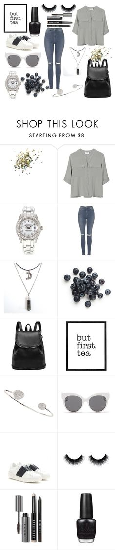 """""""Untitled #25"""" by yasyaakh ❤ liked on Polyvore featuring Topshop, PYRUS, Rolex, Tai, Blanc & Eclare, Valentino, Bobbi Brown Cosmetics and OPI"""