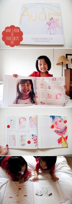 Make a coffee table album of your child's artwork, using these templates from Paislee Press
