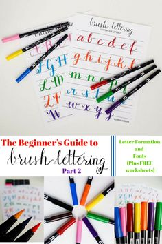 The Beginner's Guide to Brush Lettering: Part 2 -- Letter Formation and Fonts -- Plus FREE Brush Lettering Worksheets -- Destination Decoration