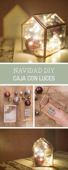 Tutorial DIY: Cómo decorar una caja de cristal con luces para Navidad - Manualidades en DaWanda.es