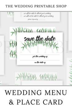 Botanical Wedding Save the Date Printable Wedding Menu, Diy Wedding, Wedding Day, Stationery Design, Wedding Stationery, Printable Designs, Printables, Wedding Printable, Botanical Wedding