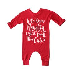 Christmas Romper Holiday Naughty or Nice No Snaps by VanillaBeanTX