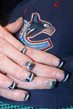 Canucks Nails 2012 Hockey Nails, Vancouver Canucks, Hockey Teams, Mani Pedi, Nhl, Class Ring, Nail Designs, Nail Art, Makeup