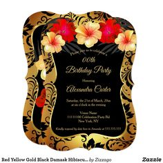 Shop Red Yellow Gold Black Damask Hibiscus Birthday Invitation created by Zizzago. Gold Birthday Party, Birthday Party Invitations, Flower Birthday, 70th Birthday, Party Stores, Hibiscus, Damask, Yellow, Watercolor Flowers