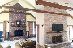 """Updating a dated brick fireplace is easy and can really give your a beautiful new look.   The stone style is Mountain Stack installed without a mortar joint. We used a 3"""" solid piece of limestone and added both a TV and mantel."""