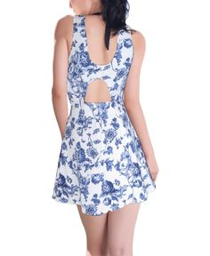 Blu Pepper Floral Sleeveless Fit and Flare Mini Dress with Back Cutout
