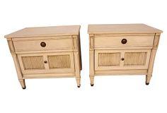 "Swedish   Pine Nightstands, Pair on OneKingsLane.com 3/9/14 $2,095/pair, Swedish Gustavian style pine nightstands, vintage, no mark, 26""l x 18""w x 23""h"