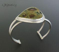 Silver Cuff, Silver Bracelet, Silver Jasper Cuff, Sterling Silver, Rain Forest Jasper, Metalsmith Jewelry, Handmade, Statement Cuff