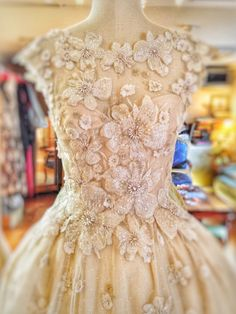 'Tamara' flower embellished tulle and Ivory silk ballerina length wedding dress by Joanne Fleming Design
