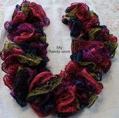 Summer Crochet Ruffled scarf by KariLynnsKumfort on Etsy,