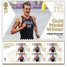 Gold medal winner stamp - Alistair Brownlee, Men's Triathlon