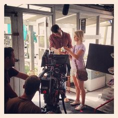 Here's a new shot of Josh Duhamel and Julianne Hough on the Safe Haven Movie set, and it looks like they may be picking paint colors! Can you guess which part of Nicholas Sparks' novel this photo may be depicting?