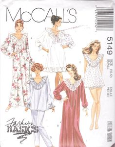 McCalls 5149 1990s Misses Romantic Nightgown and by mbchills Nightgown  Pattern fae2d8214