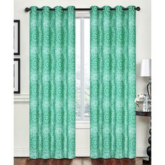 Creative Home Lime Green Ornate Rebecca Grommet Window Panel ($35) ❤ liked on Polyvore featuring home, home decor, window treatments, curtains, grommet drapery panels, lime green curtain panels, lime green grommet curtains, grommet draperies and grommet curtains