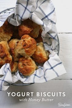 Yogurt Biscuits with Honey Butter via @PureWow