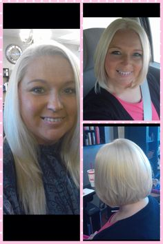 Before and after. Inverted A-line platinum blonde bob. Color and cut by Akisha at Star Image of Tulsa.