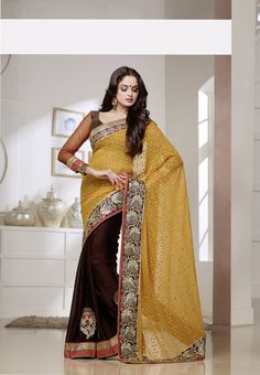 Nothing Makes A #Women Look More #Beautiful Like a #Saree.... #Fabdeal #India Yellow and Brown Crepe Jacquard #Party Wear Saree with #Embroidered Border