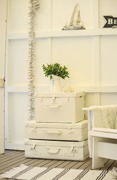 the health benefits of white vintage suitcases vignettes - Beach Decor Blog, Coastal Blog, Coastal Decorating
