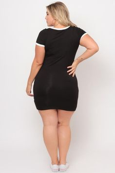 This plus size, stretch knit crepe dress features short rolled up sleeves, a crew neck, and a back keyhole cutout. Content + Care Rayon Spandex Hand wash cold Model Measurement Wearing a Size Height: Bust: Waist: Hip: Inseam: Office Fashion Women, Curvy Women Fashion, Womens Fashion For Work, Ladies Fashion, Trendy Plus Size Clothing, Plus Size Outfits, Plus Size Fashion, Leather Bodycon Dress, Black Bodycon Dress