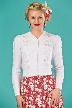 Emmy design Susie Q cardigan bright white in the group Women / Sweaters and cardigans at Sivletto (w11602)