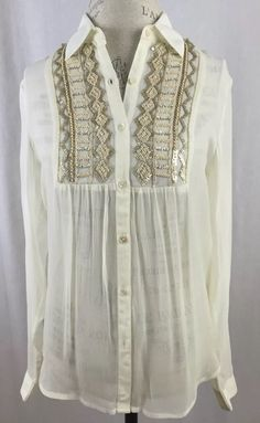 Image of Me Ivory Embellished Blouse | eBay