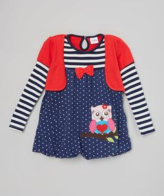 Look at this #zulilyfind! Red & Navy Owl Balloon Dress - Infant, Toddler & Girls #zulilyfinds