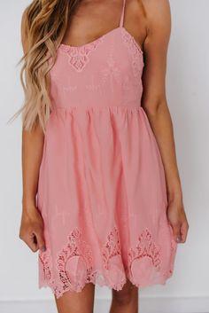 Pink Crochet Trim Open Back Dress - Dottie Couture Boutique