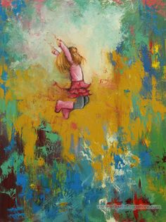Thanksgiving gift for kids  Hand-painted Figure Oil Painting -Leap $39.99