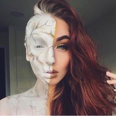 Marble Queen marble make-up. Half marble face. Marble and gold. White gold face paint, face art.