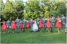Coral and teal wedding party