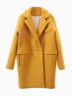 Yellow Woolen Longline Ovoid Coat | Choies