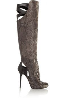 Sergio Rossi Cutout python and leather knee boots | THE OUTNET