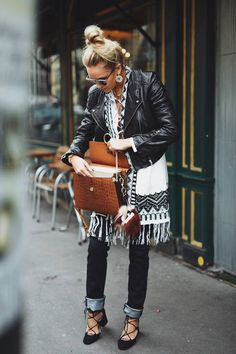 Nina Suess Layered Fringed Ethnic Kimono Fall Inspo