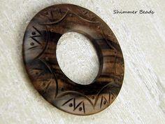 Carved Tiger Ebony Wood Donut Pendant 60mm #Unbranded #Boheiman