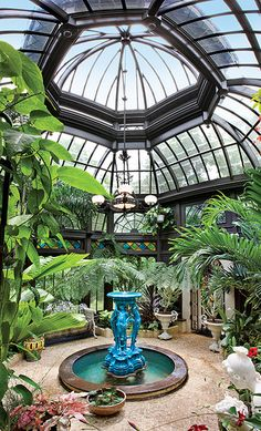 CONSERVATORY: A conservatory is a room having glass roof and walls, typically attached to a house on only one side, used as a greenhouse or a sunroom. Conservatories originated in the 16th century when wealthy landowners sought to cultivate citrus fruits such as lemons and oranges that began to appear on their dinner tables brought by traders from warmer regions of the Mediterranean...... http://en.wikipedia.org/wiki/Conservatory_(greenhouse)