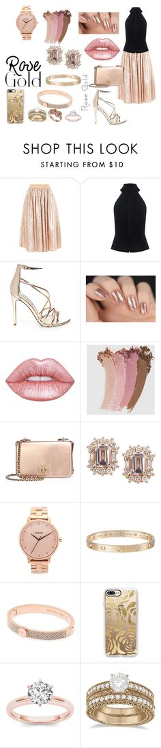 """""""Rose Gold"""" by sconesareawesome-iggybrows ❤ liked on Polyvore featuring C/MEO COLLECTIVE, Steve Madden, Lime Crime, Gucci, Tory Burch, Nixon, Cartier, Michael Kors, Casetify and Allurez"""