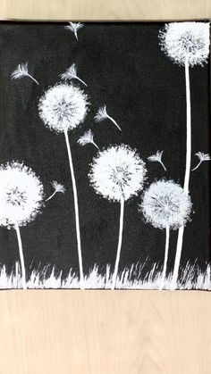 Canvas Painting Tutorials, Diy Canvas Art, Painting Techniques, Diy Painting, Painting On Black Canvas, Small Canvas Paintings, Bubble Painting, Beginner Painting, Dandelion Painting