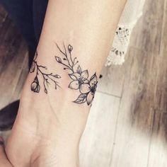 Bracelet Tattoos For Women, Wrist Bracelet Tattoo, Flower Bracelet, Vine Tattoos, Feather Tattoos, Small Tattoos, Bow Tattoos, Neck Tattoos, Bodysuit Tattoos