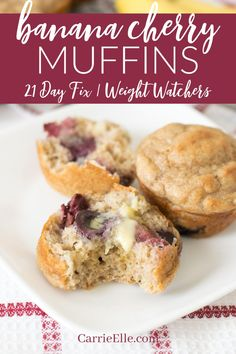 21 Day Fix Banana Cherry Muffins - 21 Day Fix Banana Cherry Muffins – Carrie Elle - Fixate Recipes, Healthy Muffin Recipes, Banana Recipes, Gourmet Recipes, Cherry Recipes Healthy, Healthy Meals, 21dayfix Recipes, Diet Recipes, Eat Meals