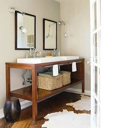 Suzie: House Beautiful - Modern bathroom design with double sink vanity with vessel sinks and ...