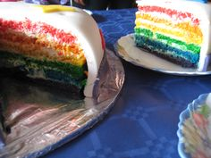 Tarta arcoiris con buttercream.