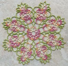 """Cornelia       This doily is from Iris Niebach, """"Tatted Doilies.""""  I love this book, most of the doilies are done in one round, but does dem..."""