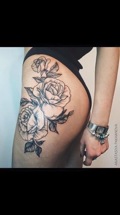101 y hip tattoo designs you wish you had 40 hot rose thigh tattoo design ideas thigh tattoos for woman or s y hip thigh tattoos Trendy Tattoos, Sexy Tattoos, Body Art Tattoos, Girl Tattoos, Tattoos For Women, Sleeve Tattoos, Tattos, Tattoo Lily, Rose Tattoo On Hip