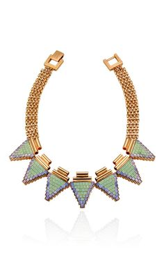 Rose Gold Plated Deco Triangle Necklace With Tubes
