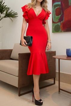 MACloth Short Sleeves with Ruffled Sheath Midi Cocktail Dress Red Tea Length Formal Party Dress Bodycon Dress Formal, Fitted Midi Dress, Classy Dress, Classy Clothes, Red Cocktail Dress, Women's Evening Dresses, Dress Silhouette, Dresses With Sleeves, Short Sleeves