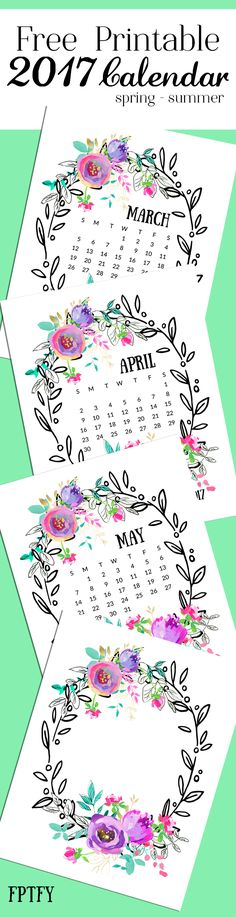 Free Printable Mint and Purple 2017 Calendar from Free Pretty Things for You