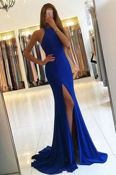 Royal Blue Prom Dresses,Mermaid Prom Dresses,Long Prom Dresses,Front