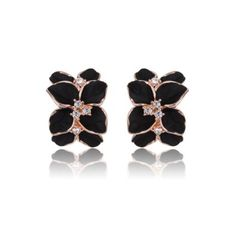 FASHION PLAZA Rose Gold Finish Black Enamel Flower Stud Earrings E10 $12.99